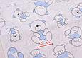 Сатин (хлопковая ткань)  мишки с голубой косичкой (лоскут 95*160), фото 2