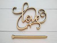 Топпер love  деревянный из фанеры подставка вставка слова в торт в букет