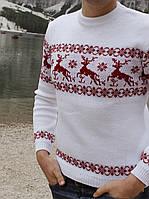 Мужской вязаный рождественский свитер Гольф/Джемпер (Белый)