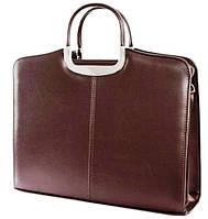 Женский деловой портфель из эко кожи Jurom коричневый