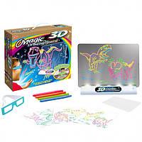 Электронная доска для рисования SUNROZ 3D Magic Drowing Board Динозавры с подсветкой и 3Д эффектом, фото 1