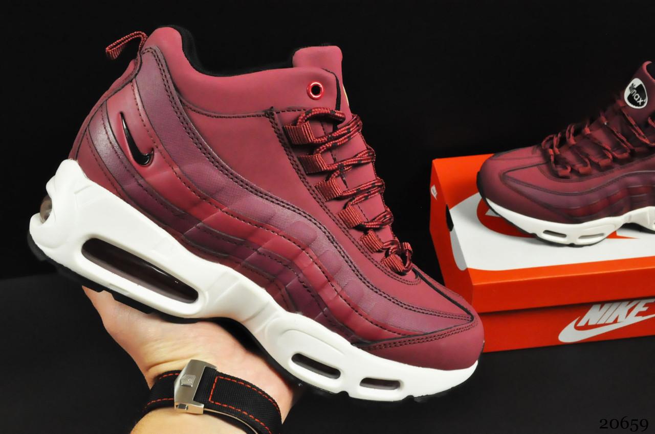 Ботинки Nike Air Max 95 Sneakerboot арт 20659 (зимние, найк, бордовые)