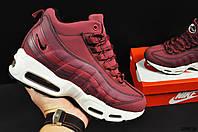 Ботинки Nike Air Max 95 Sneakerboot арт 20659 (зимние, найк, бордовые), фото 1