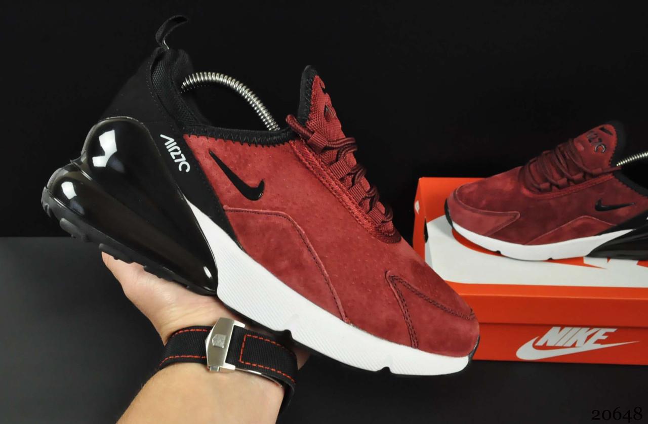 Кроссовки Nike Air Max 270 арт 20648 (женские, бордовые, найк)