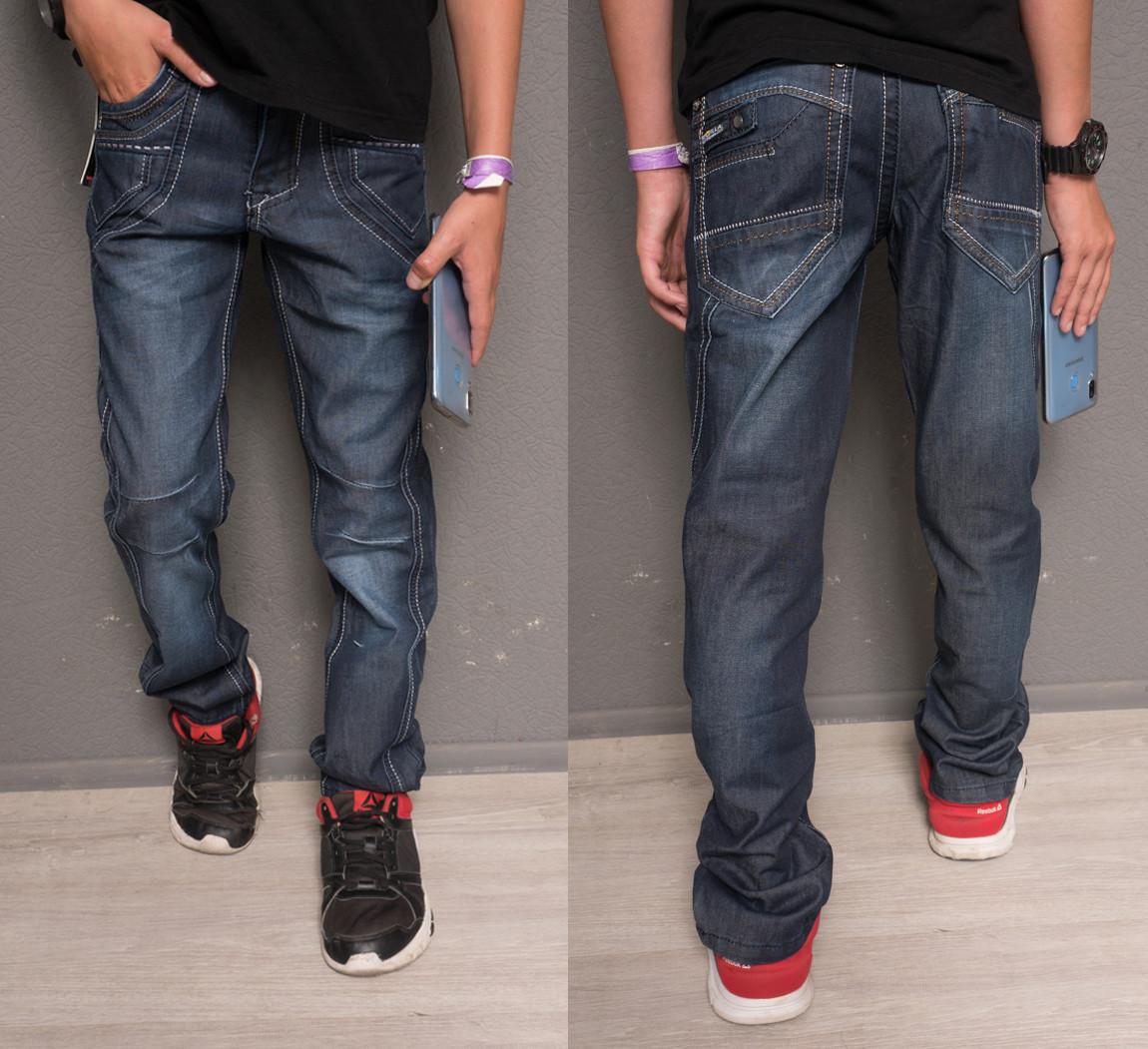 0116 Longli джинсы на мальчика модные синие осенние котоновые (30-35, 6 ед.)