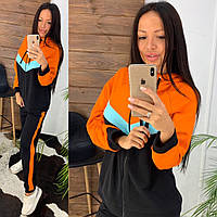 Женский стильный спортивный костюм:кофта с капюшоном и штаны с лампасами