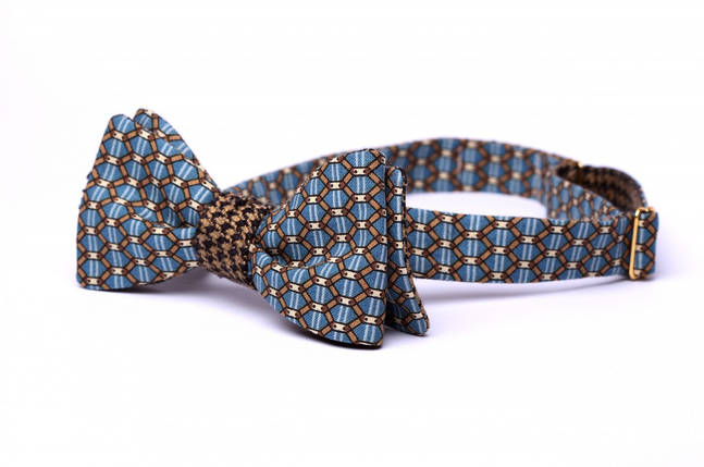 "Галстук-бабочка ""Blue Heritage"", стильная бабочка, модная бабочка, украинская бабочка, фото 2"