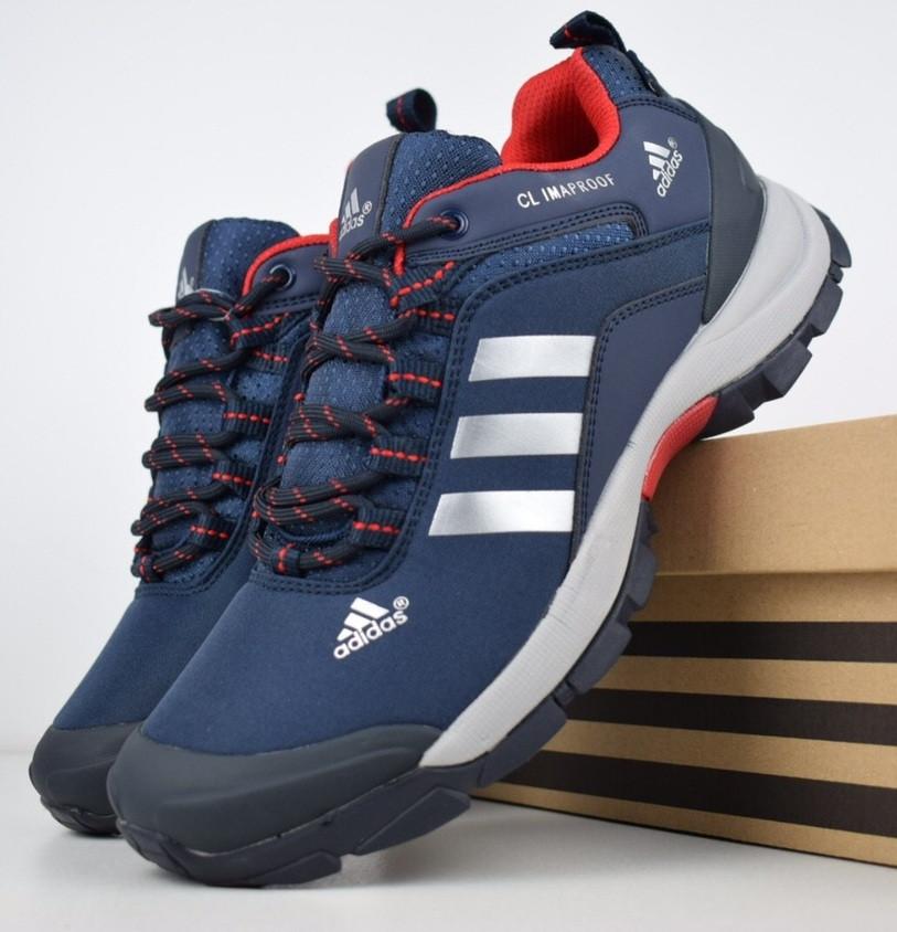 Зимние мужские кроссовки Adidas Climaproof низкие синие с красным 41-46рр. Живое фото. Реплика