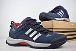 Зимние мужские кроссовки Adidas Climaproof низкие синие с красным 41-46рр. Живое фото. Реплика, фото 4