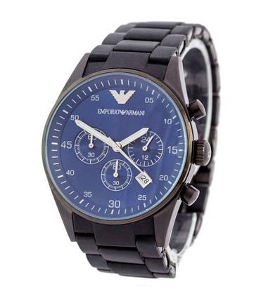 Мужские часы Emporio Armani AR-5905 Black-Blue Silicone, элитные часы Эмпорио Армани реплика ААА, фото 2
