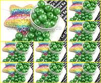 (500 грамм) ОПТ Жемчуг бусины шар, Ø10мм  Цвет - Зелёный, фото 1