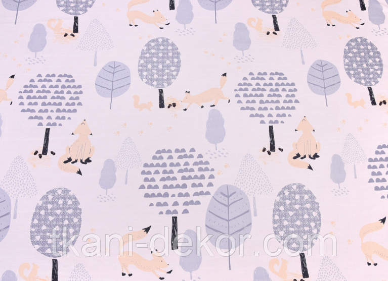 Сатин (хлопковая ткань) крупные серые деревья и лисы