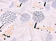 Сатин (хлопковая ткань) крупные серые деревья и лисы, фото 2