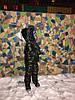 Утепленный зимний детский костюм металлик на синтепоне и меху: полукомбез и куртка с капюшоном с пышным мехом, фото 8