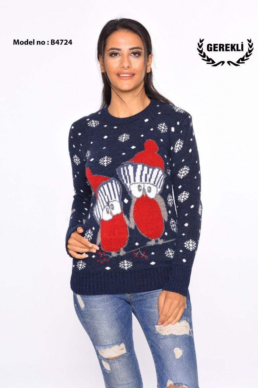 Теплый свитер с пингвинами синий Турция