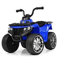 Детский квадроцикл 137 на резиновых колёсах, Кожа, синий, детский электромобиль