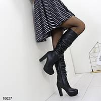 Сапоги женские зимние высокие на устойчивом каблуке и платформе черные, фото 1