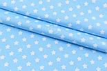 """Отрез сатина """"Густые звёздочки 12 мм"""" белые на голубом, № 1702с, фото 3"""