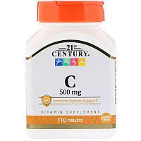 """Витамин С, 21st Century """"C-500"""" 500 мг, поддержка иммунной системы (110 таблеток)"""