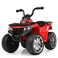 Детский квадроцикл 137 на резиновых колёсах, Кожа, красный, детский электромобиль