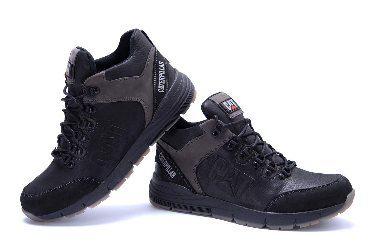 Мужские зимние кожаные ботинки CATERPILLAR Black  (реплика) 5
