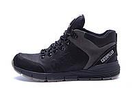 Мужские зимние кожаные ботинки CATERPILLAR Black  (реплика), фото 1