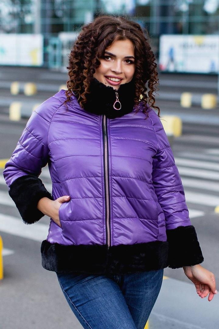 """Стеганая женская зимняя куртка """"Wind"""" с мехом и четвертным рукавом (большие размеры)"""