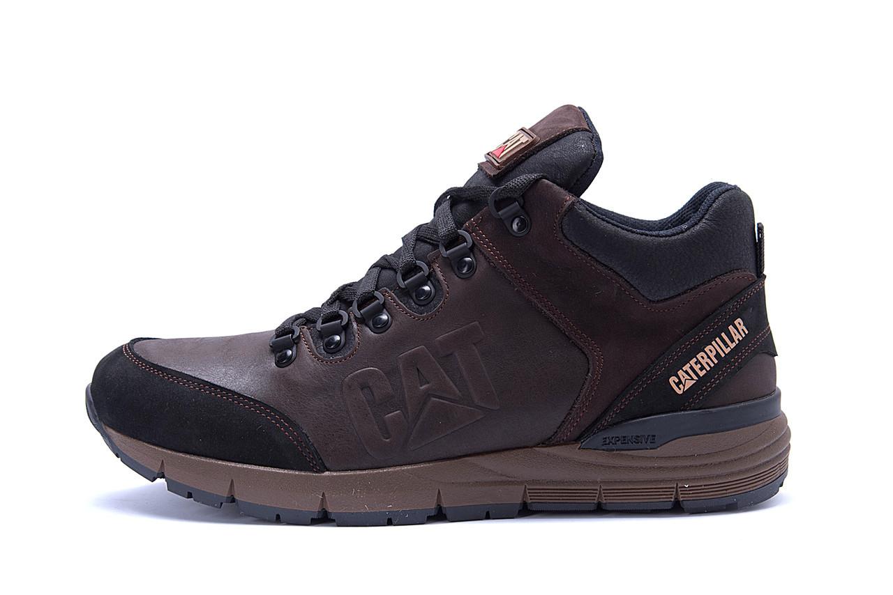 Мужские зимние кожаные ботинки CATERPILLAR Chocolate  (реплика)