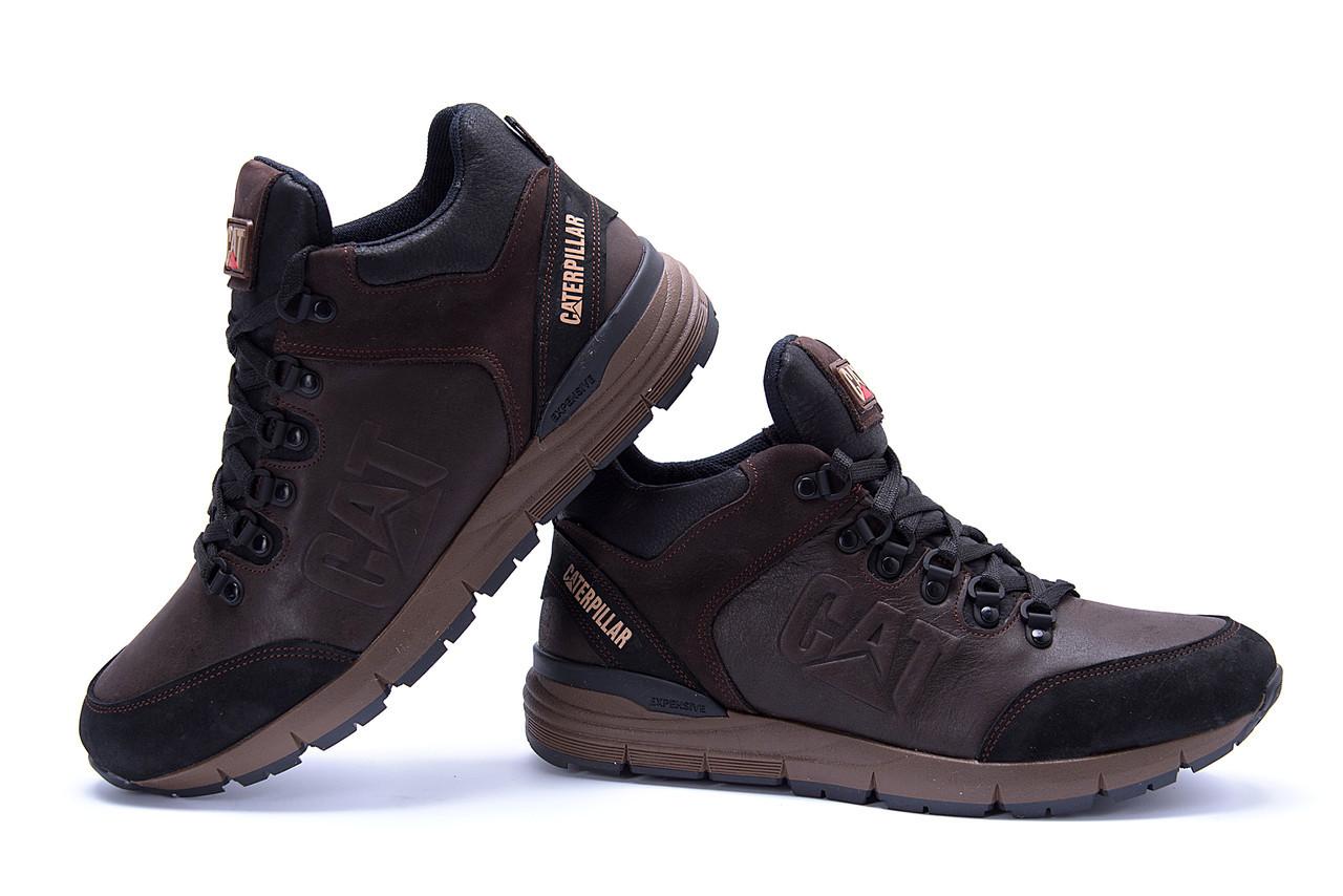 Мужские зимние кожаные ботинки CATERPILLAR Chocolate  (реплика) 5
