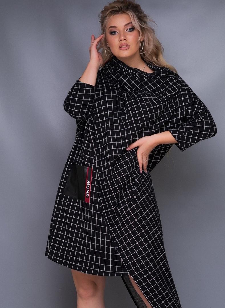 Стильное женское платье ассиметричное в клетку 50-52, 54-56