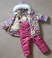 Детский зимний комбинезон на девочку от 1 до 5 лет раздельный, фото 1