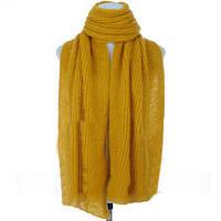 Зимний объемный теплый однотонный женский шарф  желтый