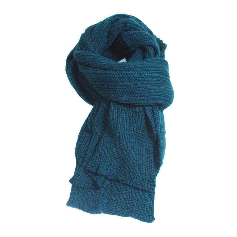 Зимний объемный теплый однотонный женский шарф  синий