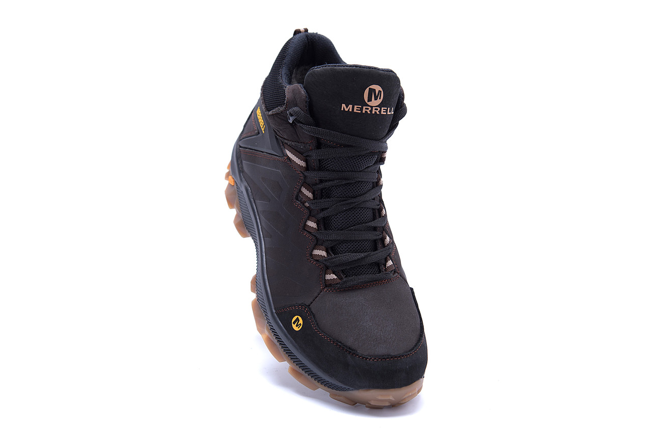 Мужские зимние кожаные ботинки Merrell Chocolate  (реплика) 2