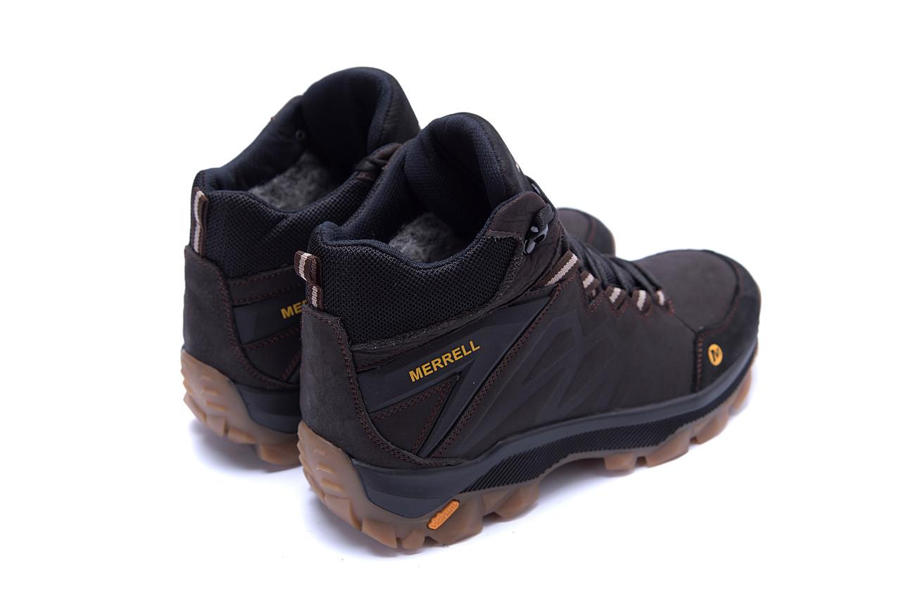 Мужские зимние кожаные ботинки Merrell Chocolate  (реплика) 6