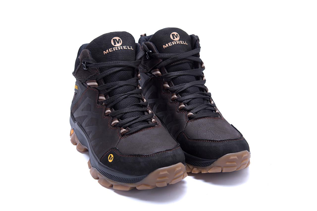 Мужские зимние кожаные ботинки Merrell Chocolate  (реплика) 3