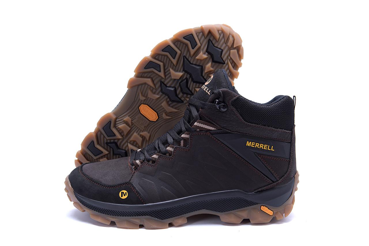 Мужские зимние кожаные ботинки Merrell Chocolate  (реплика) 5