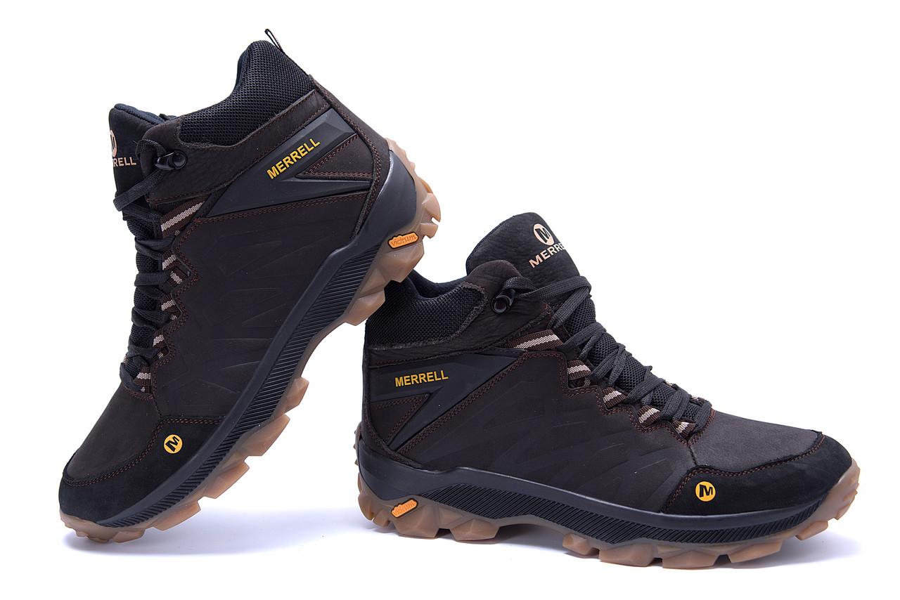 Мужские зимние кожаные ботинки Merrell Chocolate  (реплика) 4