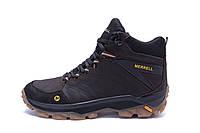 Мужские зимние кожаные ботинки Merrell Chocolate  (реплика), фото 1