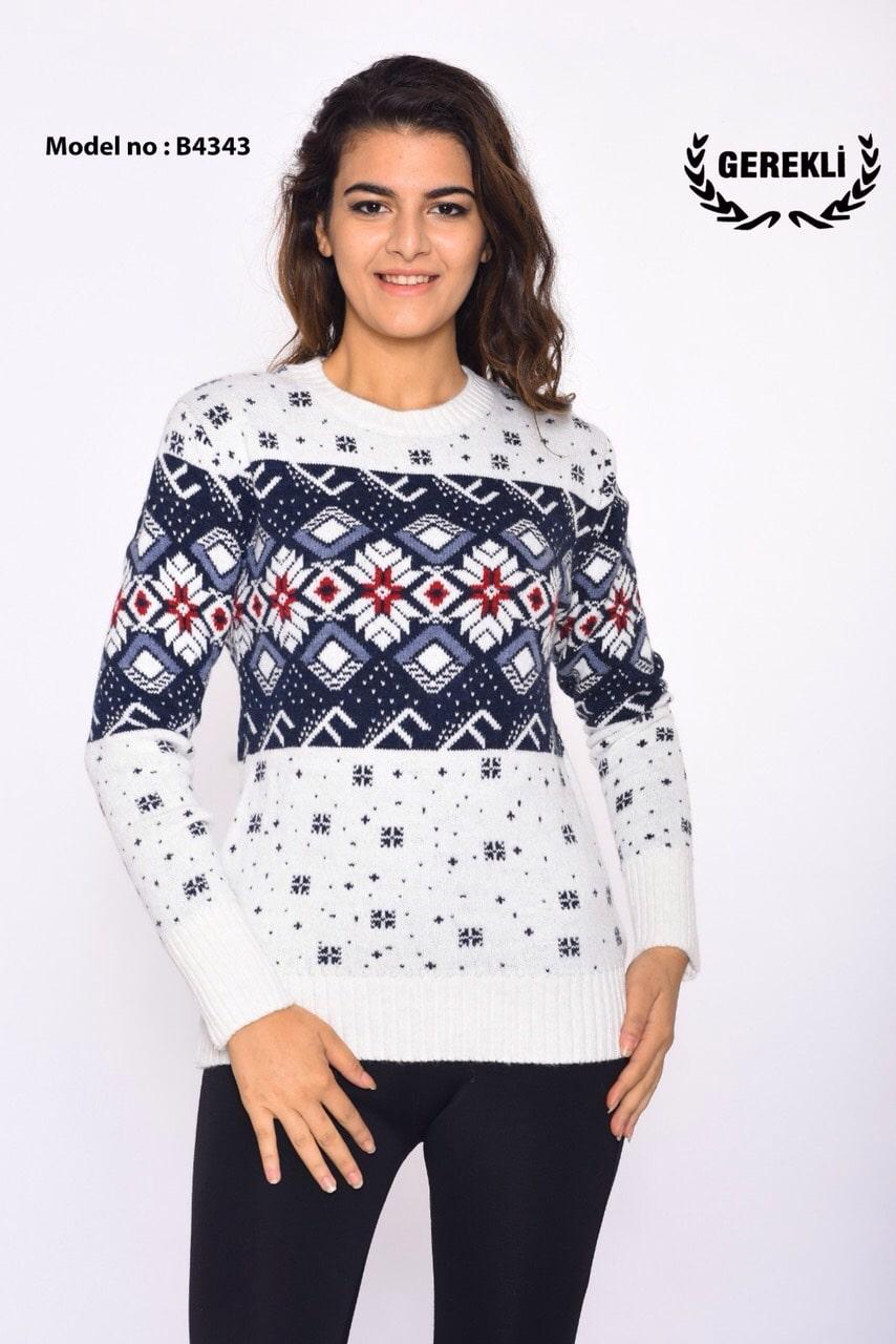 Теплый свитер стильный узор Турция