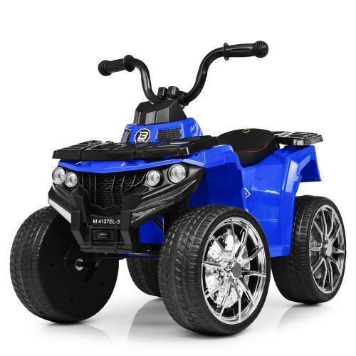 Дитячий електромобіль Квадроцикл M 4137 EL-4 на гумових колесах, Шкіряне сидіння, синій