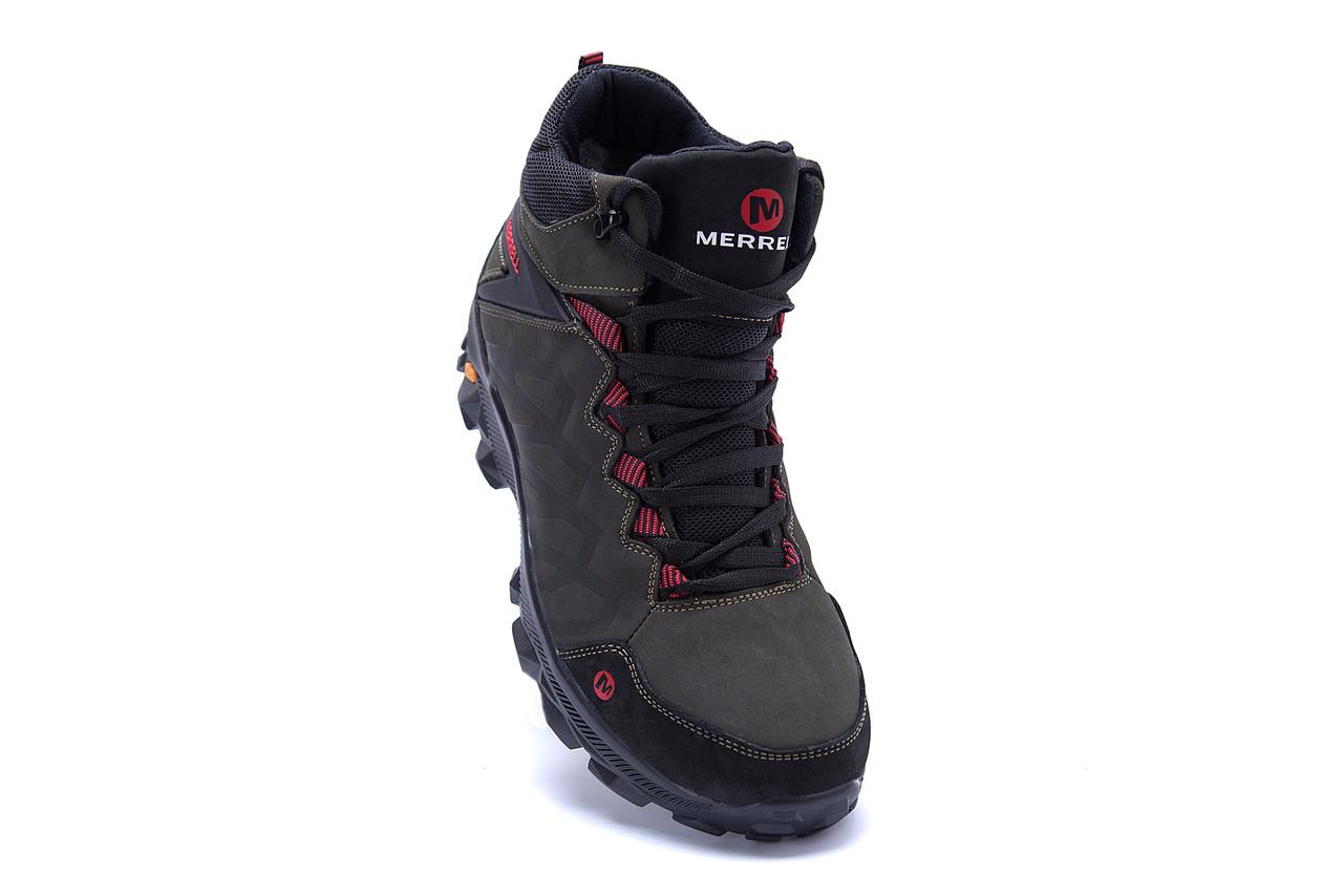 Мужские зимние кожаные ботинки Merrell Olive  (реплика) 2