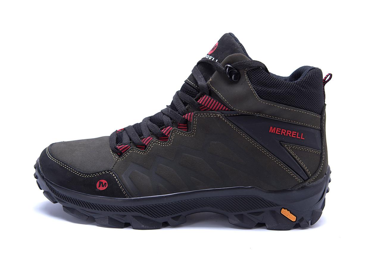 Мужские зимние кожаные ботинки Merrell Olive  (реплика)