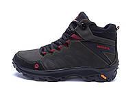 Мужские зимние кожаные ботинки Merrell Olive  (реплика), фото 1