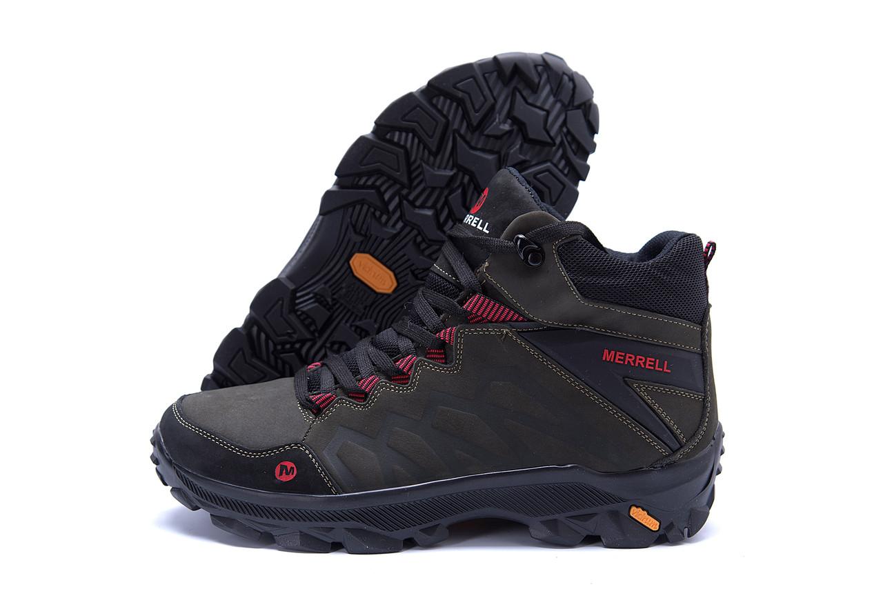 Мужские зимние кожаные ботинки Merrell Olive  (реплика) 4