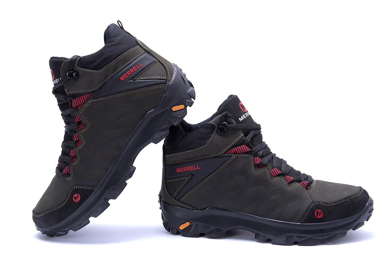 Мужские зимние кожаные ботинки Merrell Olive  (реплика) 5