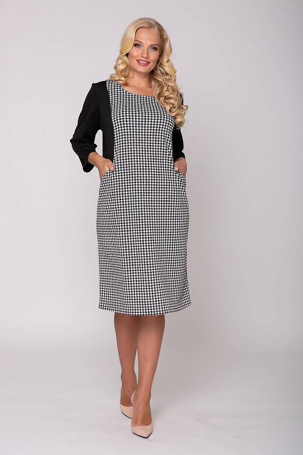 Платье с моделирующими вставками без декора  Сабина черное   (54-60)