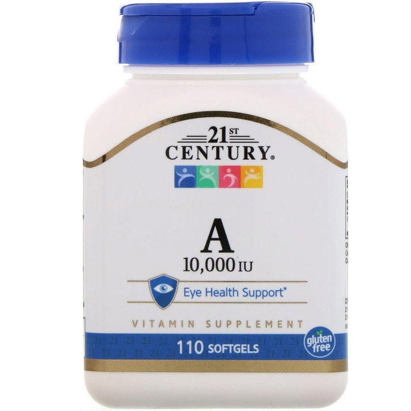 "Витамин А, 21st Century ""Vitamin А"" 10000 МЕ (110 гелевых капсул)"