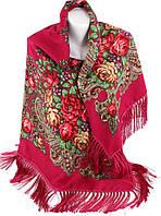 Украинский женский платок с бахромой Trаum розы малиновый