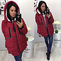 Женская куртка парка Трансформер с карманами темно-красная, фото 1